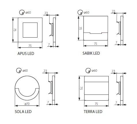 LED Wandeinbauleuchte SABIK 1,3 Watt 15 Lumen inkl. Trafo