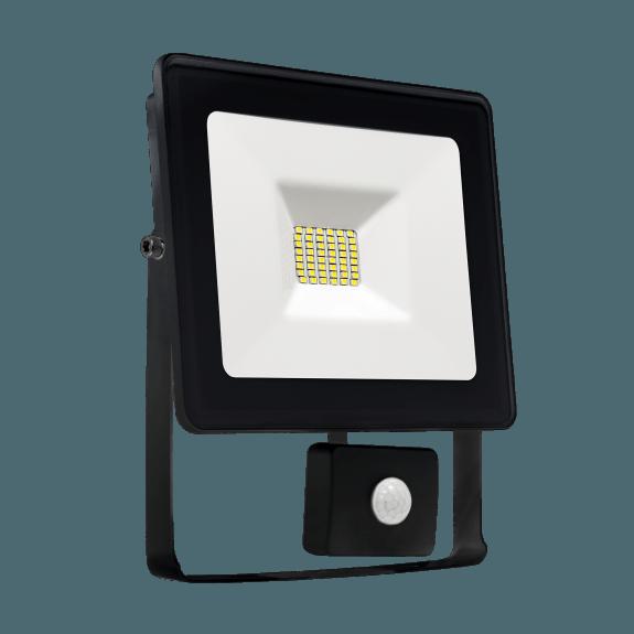 LED Fluter / Scheinwerfer NOCTIS Lux in Schwarz 20 Watt mit Bewegungsmelder kaltweiß-5.500 - 6.500 K kaltweiß