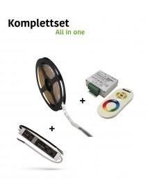 LED Stripe 5m RGB Komplettset IP54 mit Funk Controller und LED Trafo 36 Watt