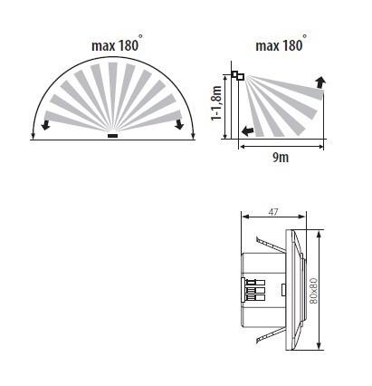 Kanlux Premium Bewegungssensor 180° 9 Meter Reichweite