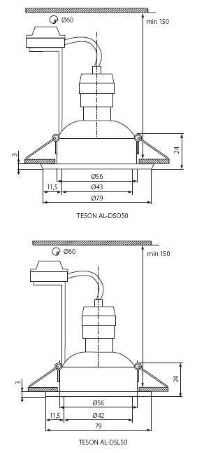 Deckeneinbaurahmen Aluminiumdruckguss GU5.3 / GU10