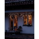 LED-Eislichtvorhang Outdoor Kabel weiß mit 80 Brennstellen und 20 Strängen Warmweiß 1,9 x 0,5m