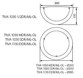 Aufbau Deckenleuchte in Erlefarben mit 300mm Durchmesser und E27 Fassung bis max. 60 Watt