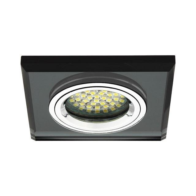 Glas Deckeneinbauleuchte für GU5.3 / GU10 Fassung und Farbe schwarz