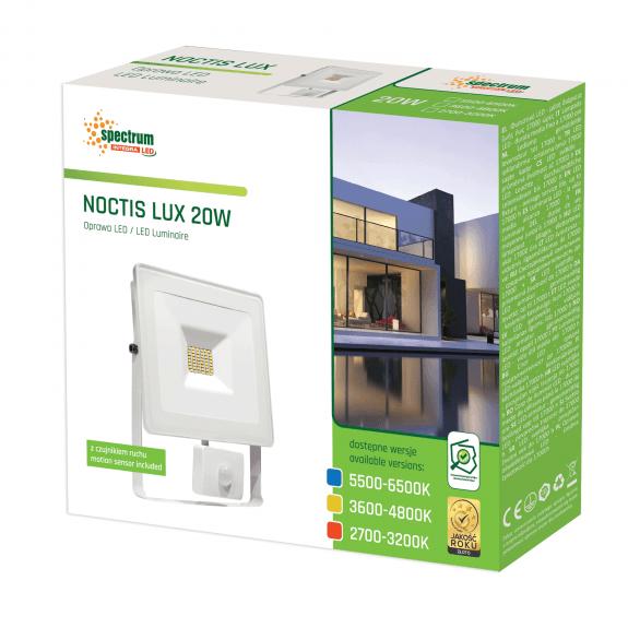 LED Fluter / Scheinwerfer NOCTIS Lux in Weiß 20 Watt mit Bewegungsmelder kaltweiß-5.500 - 6.500 K kaltweiß