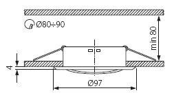 Kupfer Einbauring MR16 Strahler