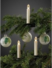 Kabellose LED-Weihnachtsbeleuchtung mit Fernbedienung 10 Kerzen in Warmweiß