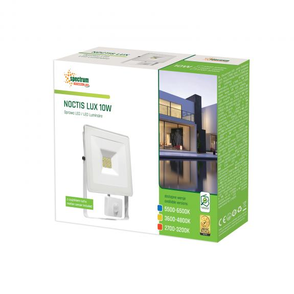 LED Fluter / Scheinwerfer NOCTIS Lux in Weiß mit Bewegungsmelder 10 Watt - Lichtfarbe wählbar