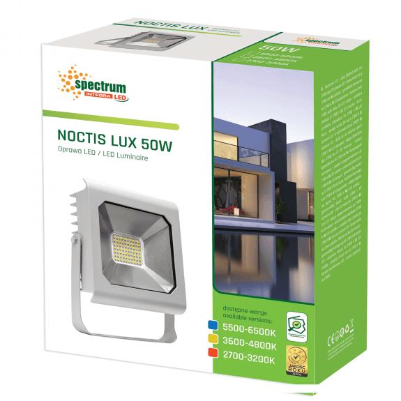 LED Fluter / Scheinwerfer NOCTIS Lux in Silber 50 Watt - Lichtfarbe wählbar -5.500 - 6.500 K kaltweiß