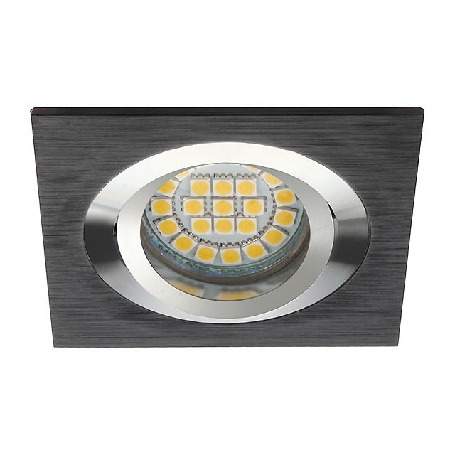Deckeneinbaurahmen gebürstetes Aluminium Schwarz GU5.3 / GU10