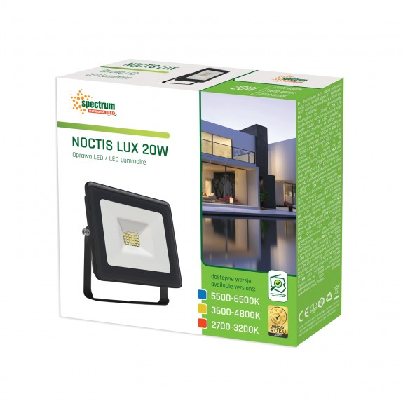 LED Fluter / Scheinwerfer NOCTIS Lux in Schwarz 20 Watt - Lichtfarbe wählbar -5.500 - 6.500 K kaltweiß