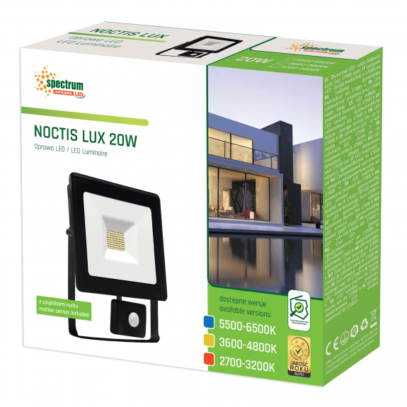 LED Fluter / Scheinwerfer NOCTIS Lux in Schwarz 20 Watt mit Bewegungsmelder
