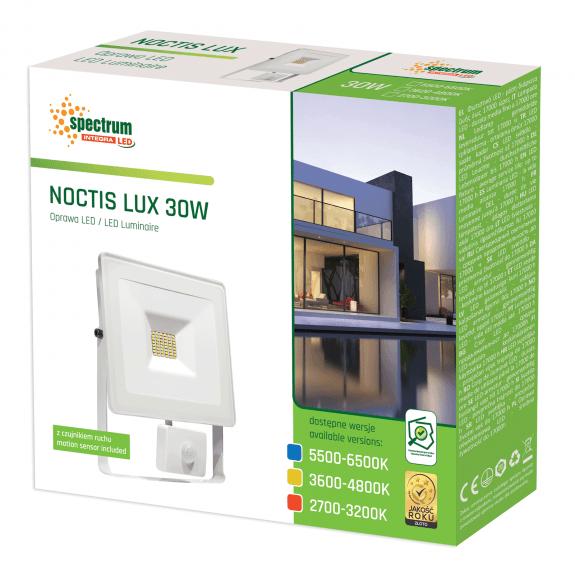LED Fluter / Scheinwerfer NOCTIS Lux in Weiß 30 Watt mit Bewegungsmelder Neutralweiß
