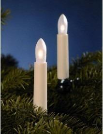 LED Riffelkerzenkette 15-tlg elfenbein 12,8m für den Innenbereich Warmweiß