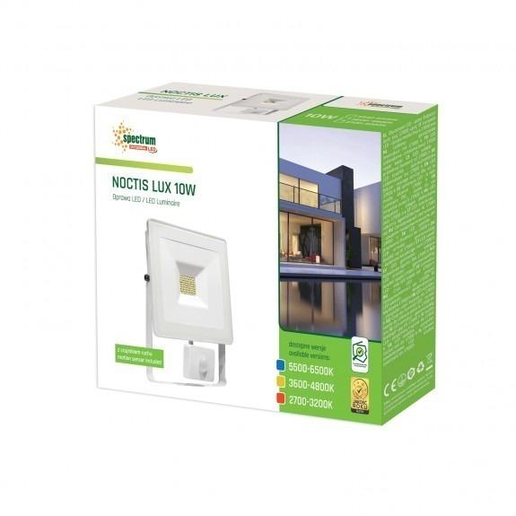 LED Fluter / Scheinwerfer NOCTIS Lux in Weiß 10 Watt mit Bewegungsmelder - Lichtfarbe wählbar -3.600 - 4.800 K neutralweiß