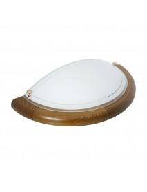 Halbrunde Wandleuchte Farbe Eiche mit E27 Fassung bis max. 60 Watt