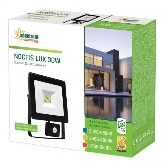 LED Fluter / Scheinwerfer NOCTIS Lux in Schwarz 30 Watt mit Bewegungsmelder - Lichtfarbe wählbar -5.500 - 6.500 K kaltweiß