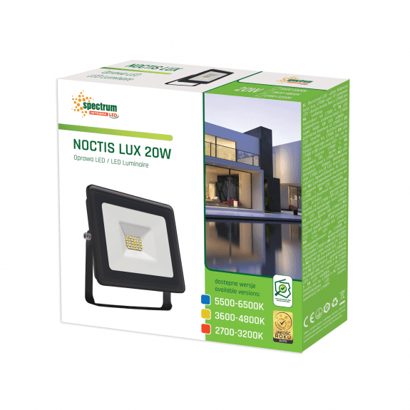 LED Fluter / Scheinwerfer NOCTIS Lux in Schwarz 20 Watt seitliche Ansicht