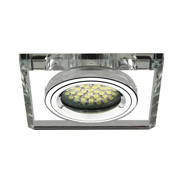 Glas Deckeneinbauleuchte für GU5.3 / GU10 Fassung und Farbe silber