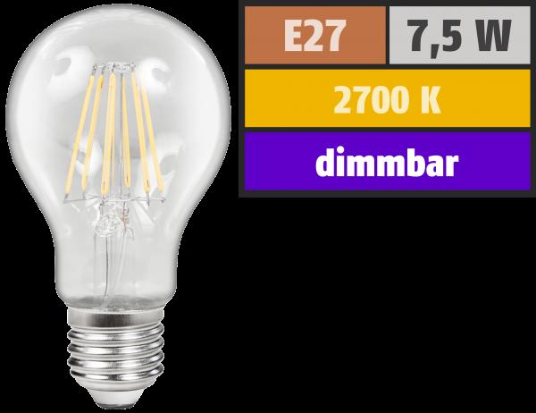 LED Filament Glühlampe McShine Filed, E27, 7,5W, 800 lm, warmweiß, dimmbar, klar