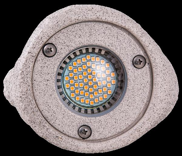 LED Außenleuchte Stone, Ø108x140 mm, GU5,3 3W, IP67, 5m Anschlussleitung