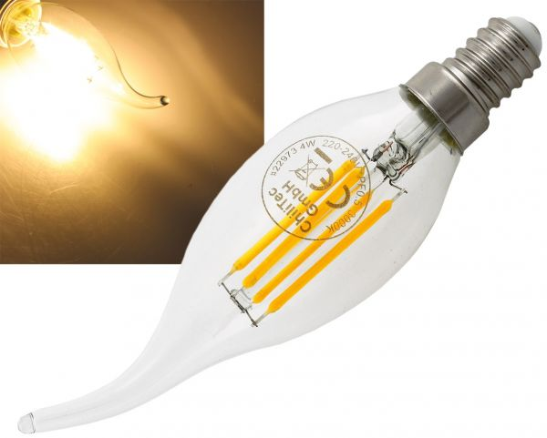 "LED Windstoßkerze E14 ""Filament W4"" 3000k, 470lm, 230V/4W, warmweiß"
