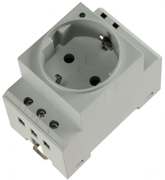 Schutzkontakt-Steckdose für Hutschiene mit LED, 230V, 16A, VDE