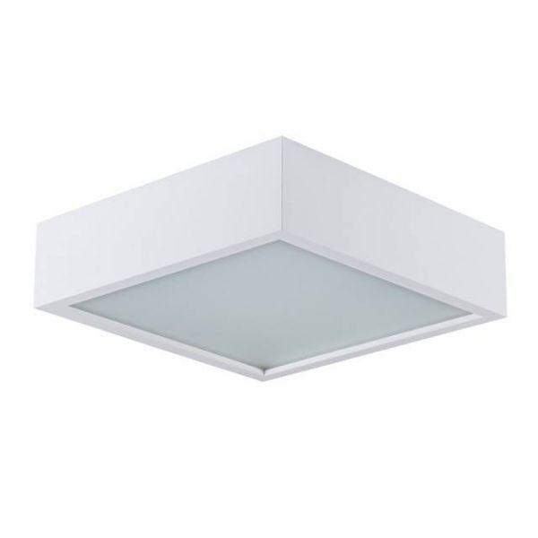Quadratische Deckenleuchte 305mm x 80mm aus Echtholz in Weiß mit matter Echtglasabdeckung und 2x E27