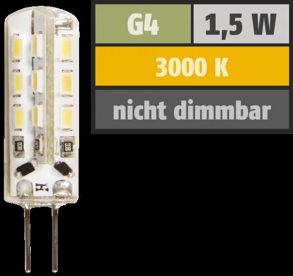 LED-Stiftsockellampe McShine Silicia, G4, 1,5W, 120 lm, warmweiß