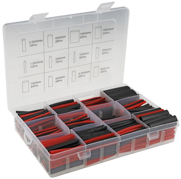 Schrumpfschlauch-Sortiment, 560-teilig in Plastikbox, Ratio 2:1, schwarz + rot