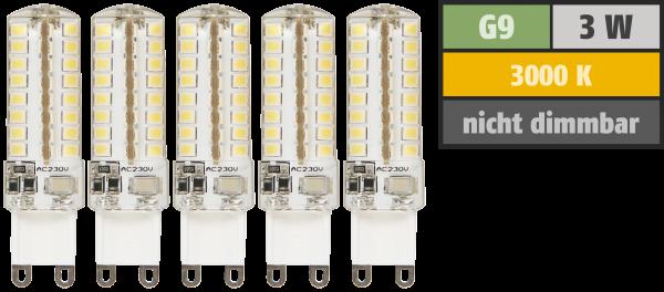 LED-Stiftsockellampe McShine Silicia, G9, 3W, 320 lm, warmweiß, 5er-Pack