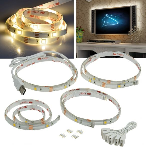 LED Stripe Set:TV-Hintergrundbeleuchtung USB, 4x 50cm, warmweiß 3000K