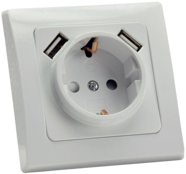 DELPHI Schutzkontakt-Steckdose, weiß 250V~/ 16A, UP, 2x USB Buchse je 5V/1A