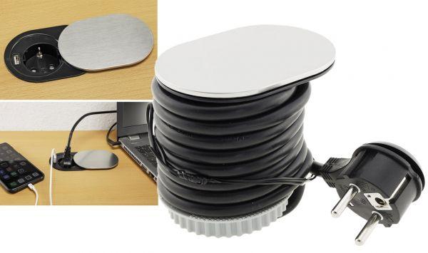 Schreibtisch-Einbausteckdose + USB Schutz.Steckd. 16A, USB 2,4A, Edelstahl