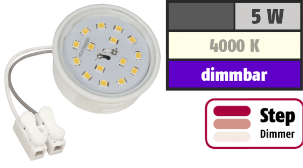 LED-Modul McShine, 5W, 400 Lumen, 230V, 50x23mm, neutralweiß, 4000K, step-dimmbar