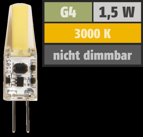 LED-Stiftsockellampe McShine Silicia COB, G4, 1,5W, 200 lm, warmweiß