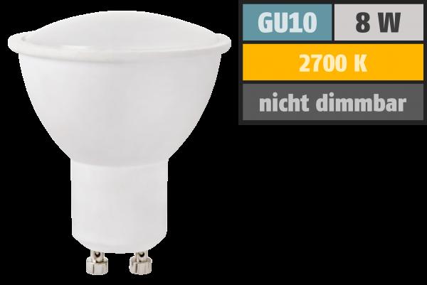 LED-Strahler GU10, 8W, 630 lm, warmweiß, Milchglas