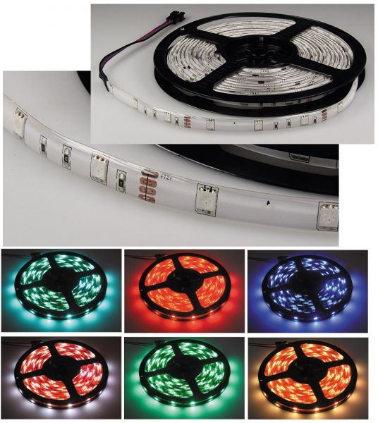 LED-Stripe RGB, 5m lang, 150 LEDs 12V, 33W, IP44, weiße Platine