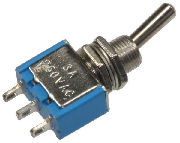 Miniatur Kippschalter 1x EIN/EIN 12V/3A, Lötösen, 3-Pin, Gewinde Ø 6mm