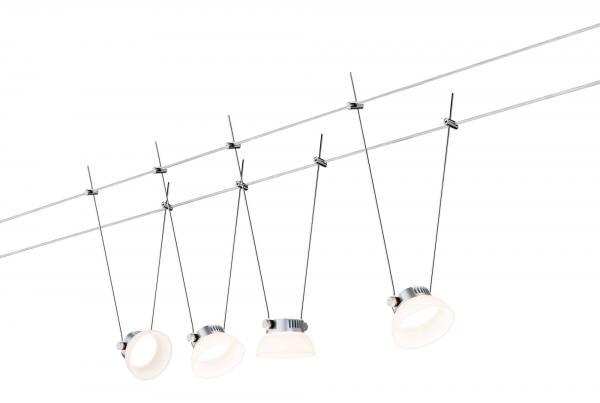 Paulmann SmartHome BLE IceLED Wire System 4x4W Chrom matt/Weiß 230V/12V DC 30VA Metall