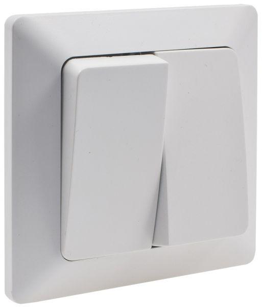 MILOS Serien-Schalter 2-fach weiß matt 250V~/ 10A, inkl. Rahmen, UP