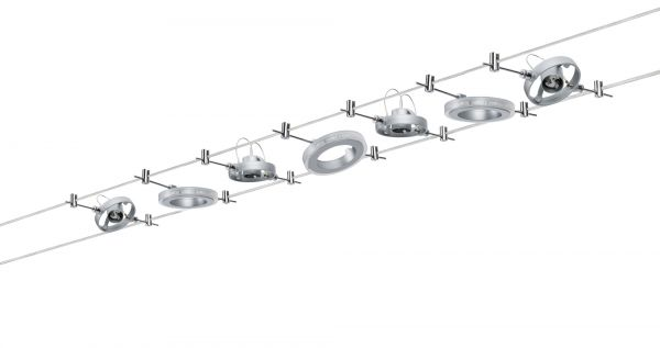 Paulmann WireSystem HaloLED 3x1,5W+max4x10W GU4 Chrom matt 230/12V 80VA Metall