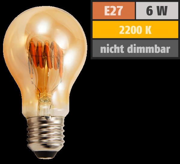 LED Filament Glühlampe McShine Retro E27, 6W, 420lm, warmweiß, goldenes Glas