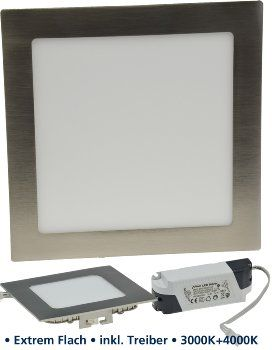 """LED Panel """"CCT-022"""" 22x22cm, 1400lm 26W, 3000k+4000k, dimmbar in 2Steps"""