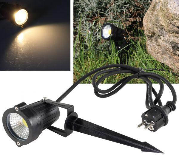 """LED Gartenleuchte """"CT-GS5"""" warmweiß 5W, 230V, 1,5m Kabel+Erdspieß, schwarz"""