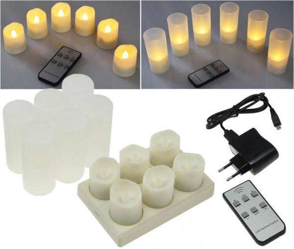 LED Kerzen mit IR-Fernbedienung, 6er-Set Ladestation + Netzteil, warmweiß