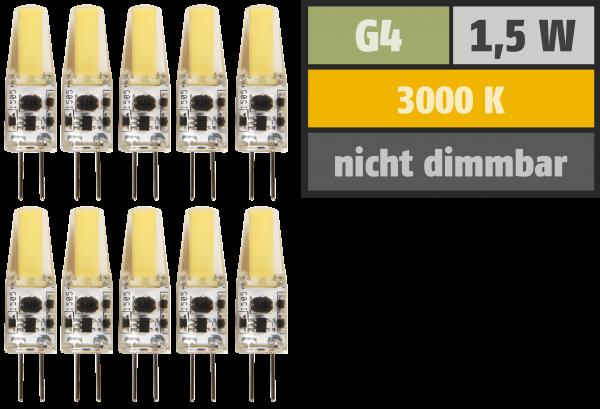LED-Stiftsockellampe McShine Silicia COB, G4, 1,5W, 200lm, warmweiß, 10er-Pack