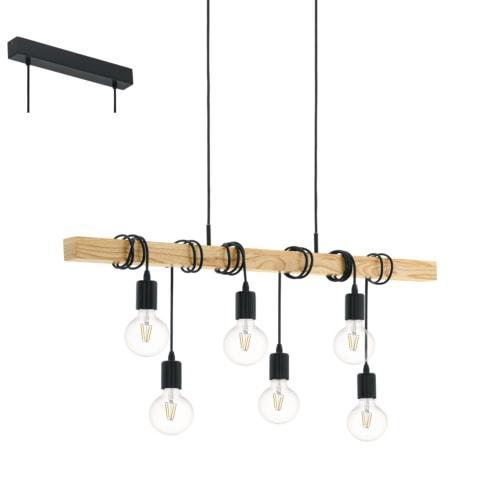 Designer Pendelleuchte aus Holz mit E27 Fassung