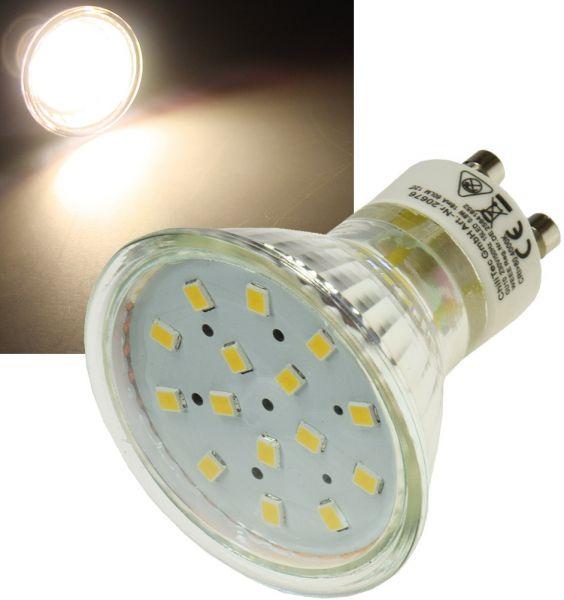 "LED Strahler GU10 ""H10 SMD"" 15 SMD LEDs 3000k, 50lm, 120°, 230V/0,8W, warmweiß"