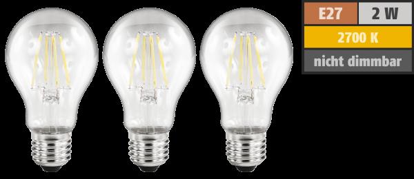 LED Filament Set McShine, 3x Glühlampe, E27, 2W, 200lm, warmweiß, klar